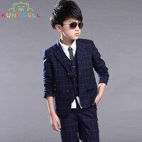 Children Clothing Set Brand Formal Wedding Dress Suit School Uniform Sets Coat Waistcoat Vest Pants Kids Blazer Clothes For Boys