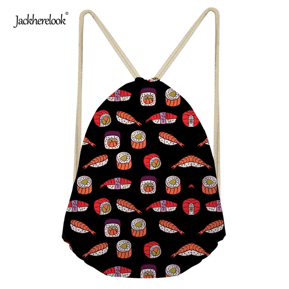 Jackherelook Funny 3D Food Sushi Prints Kids Backpack Small Drawstring Bags Girls String Cinch Sack Travel Coin Purse For Women