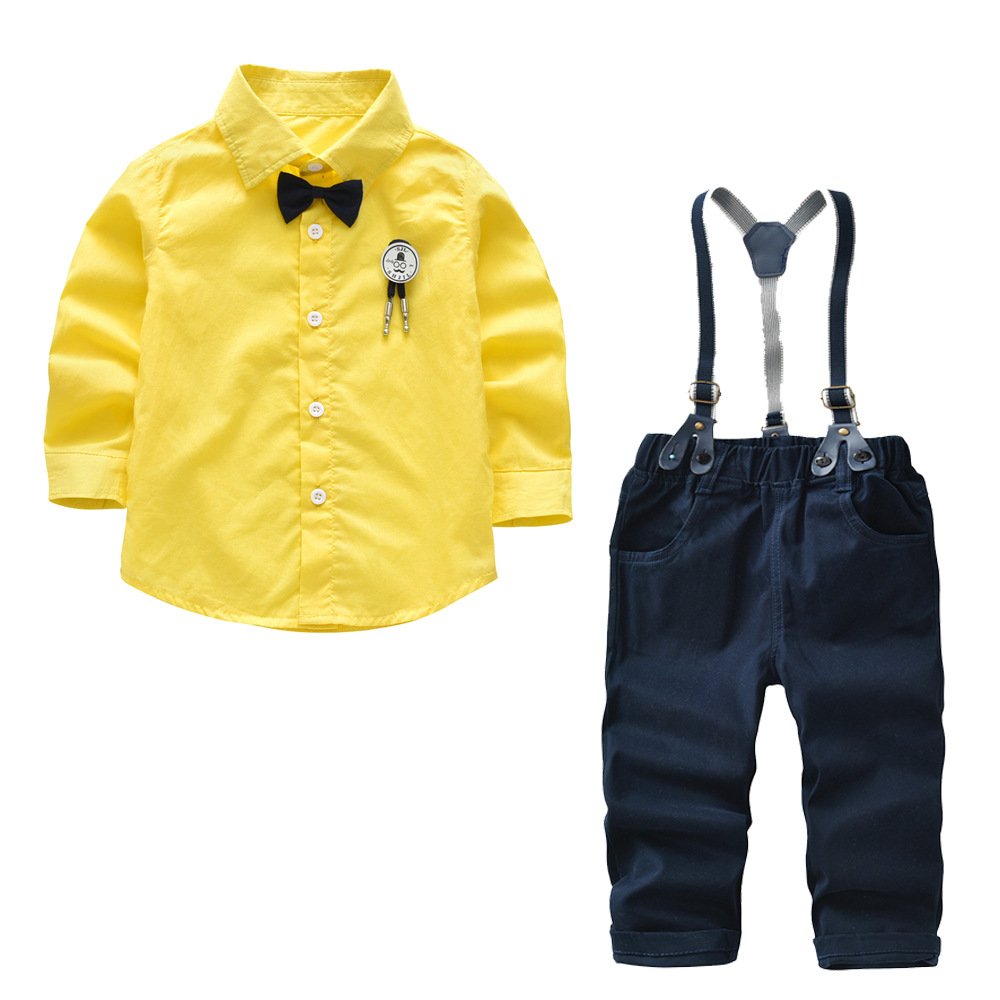 2018 new money Boy cotton long sleeved pendant bow tie shirt pants trousers suit Children's gentry suit 2 3 4 5 6 7 8 years old vlinder 2017 new 2 sets of tiger autumn and winter male baby cotton long sleeved t shirt tie with harem pants boy suit