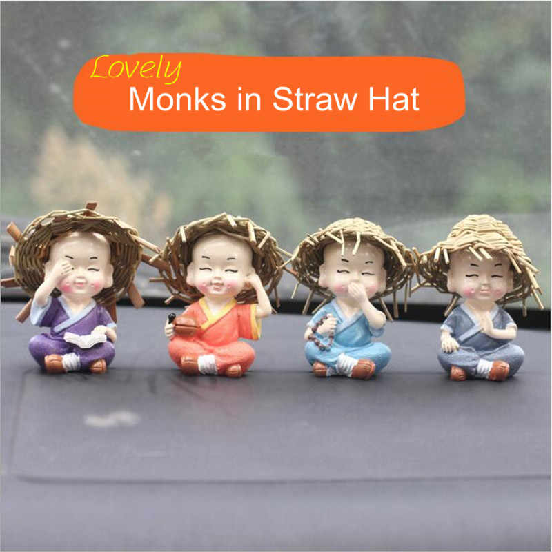 4pcs/set Little Kungfu Monk in Straw Hat Figurines Car Dolls Decoration,Home Decor Shaolin Temple Monks Boy Car Ornament