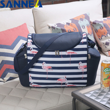 SANNE 2019 New Design 33L Thermal Food Picnic Lunch Bags for Family Flamingo Fashion Portable Multifunction Waterproof Bag
