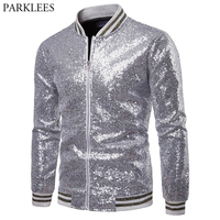 Shiny Sliver Sparkle Sequin Baseball Jacket Men Hip Hop Streetwear Mens Jackets Coats Nightclub DJ Party Stage Chaqueta Hombre