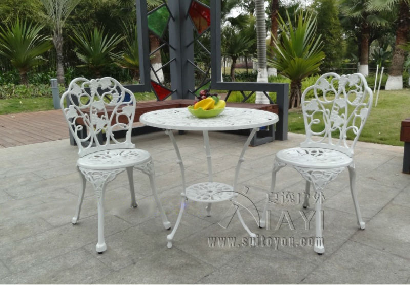3 piece cast aluminum table and chair patio furniture garden outdoor white - Garden Furniture 3 Piece