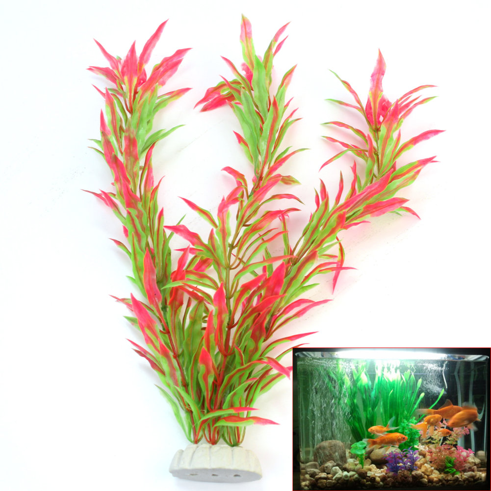1PCS Artificial Fake Plastic Aquatic Plants Grass Aquarium Fish Tank Fish Pond Underwater Landscape Ornament Decoration 24.5CM