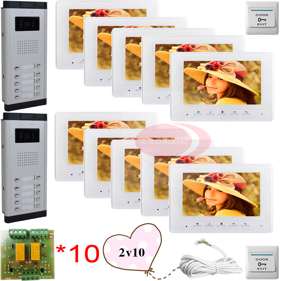 10 Keys Infared CCD Cameras 7 HD 700lines Color Indoor Monitors Video DoorPhone Intercom Doorbell For 2 Doors/10 Apartments