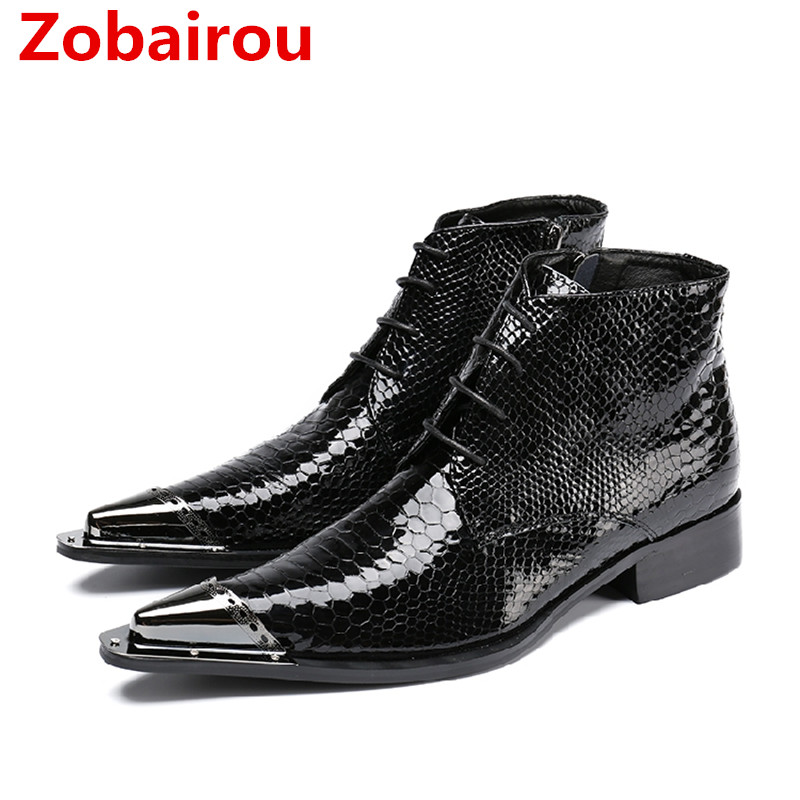 Genuine Leather Fashion British Style Men's Oxfords Boots Round Toe Square High Heels Mens Cowboy Boot Styles Military Boots-in Basic Boots from Shoes    1