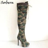 Sorbern зеленый камуфляж Сапоги выше колена зимняя обувь женская обувь на платформе женские сверхвысокий каблук ботинки с высоким голенищем Р