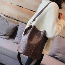 Bucket Bag Pu Retro Alligator Bag Women Handbags Big Capacity Leather Messenger Shoulder Bags Lady Casual Crocodile Shoulder Bag недорого