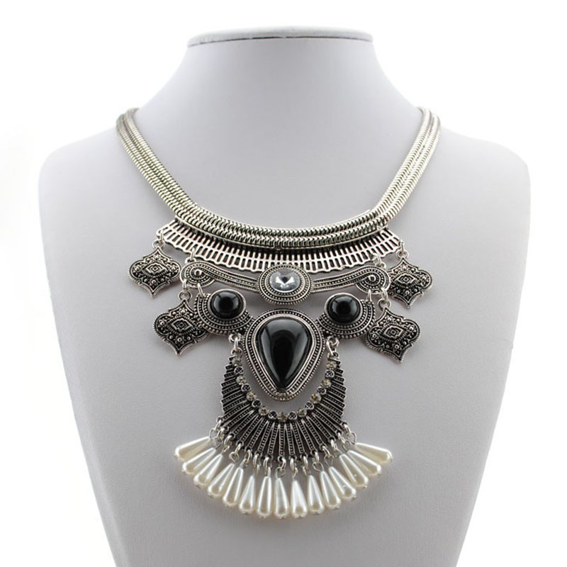 1Pc Tribal Short Bib Statement Necklace Choker Exaggerated Collar Necklace Black