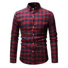 New Autumn Fashion Brand Men Clothes Slim Fit Long Sleeve Shirt Plaid Cotton Casual Social Plus Size M-3XL