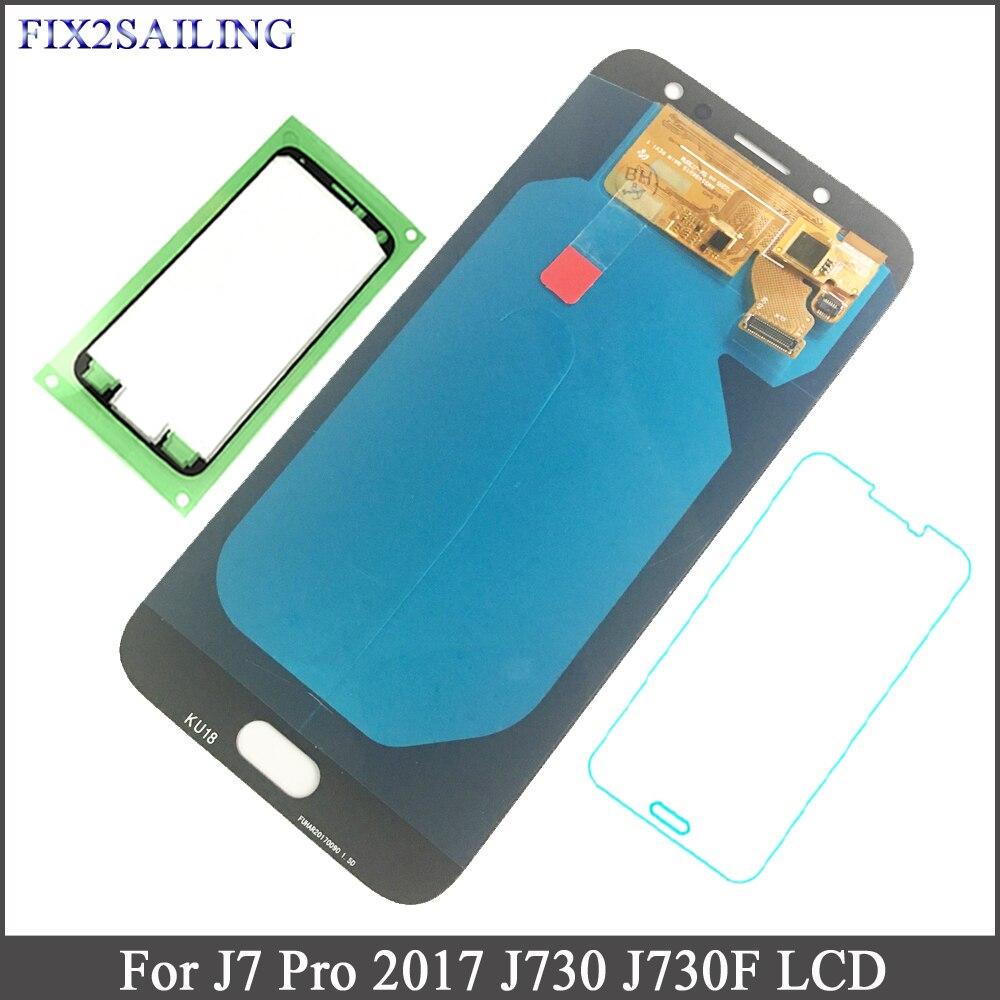 FIX2SAILING Pour Samsung Galaxy J7 Pro 2017 J730 J730F Super AMOLED ÉCRAN LCD Écran Tactile Assemblage Trempé Verre Autocollant