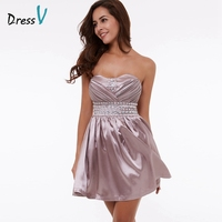 Dressv purple A-line draped homecoming dress sweetheart beading ruched above knee graduation dress 2017 short homecoming dress