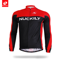 NUCKILY Summer Long Sleeves Bicycle Jersey Red And Black Mesh Pockets Bike Clothing CJ133