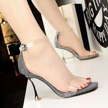 shoes woman sandals summer sandales femme 2018 nouveau Fashion metal wine glasses high heels bright hollow transparent sandals.