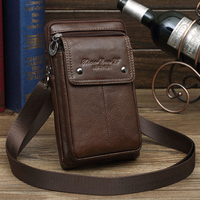 Men Genuine Leather Bag Purse Waist Belt Pack Hook Cross Body 7'' Business Cell Phone Case Small Shoulder Fanny Messenger Bags
