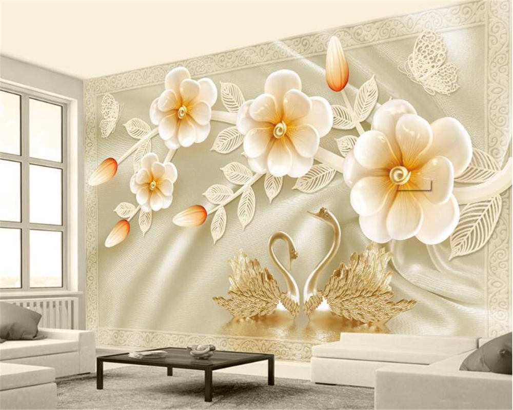 Lovely Beibehang 3D Wallpaper 3d Stereo Luxury Rose Swan Romantic Jewelry TV  Background Wall Furnishings Mural Wallpaper For Walls 3 D In Wallpapers  From Home ...