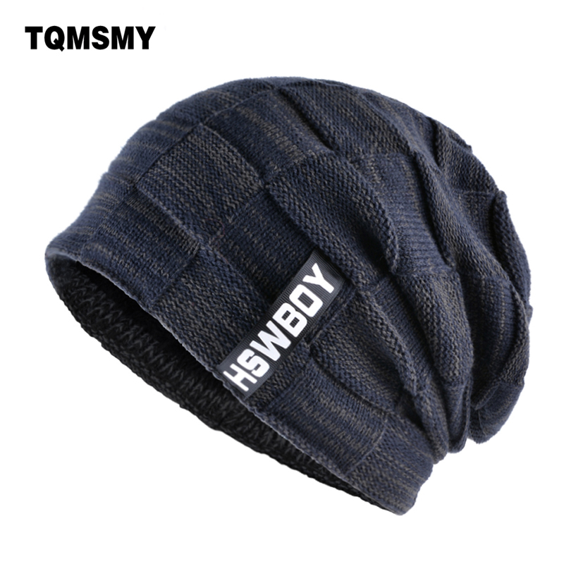 TQMSMY marca hueso hombres invierno sombrero tejido lana gorros hombres hip-hop capturbante gorras Skullies pasamontañas sombreros para mujeres gorros