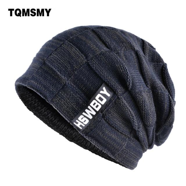 TQMSMY marca hueso hombres invierno sombrero tejido lana gorros hombres  hip-hop capturbante gorras Skullies a3d9057a346
