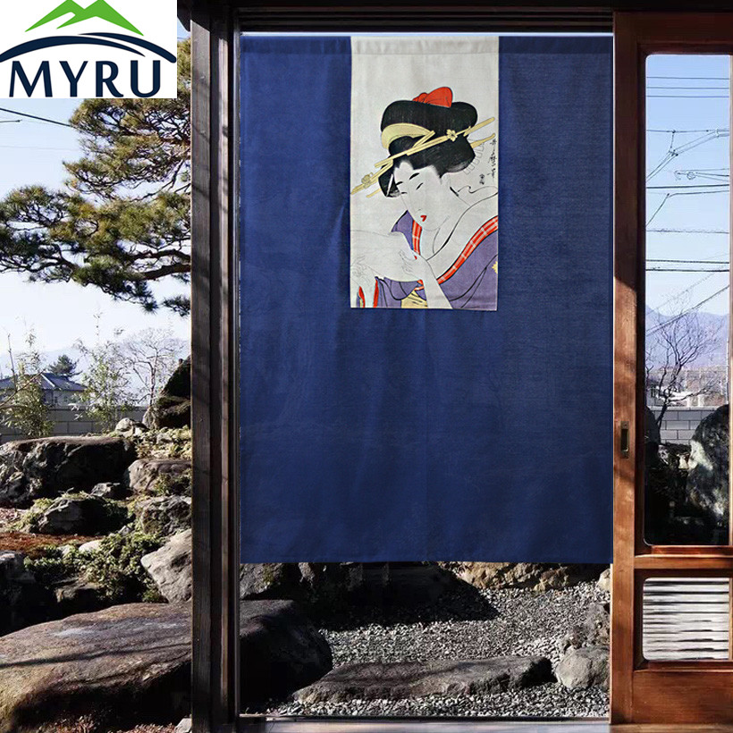 MYRU Japanese Style Creative Partition Curtain Cloth Door Hanging Curtain Japanese Beauty Maid Door Curtain