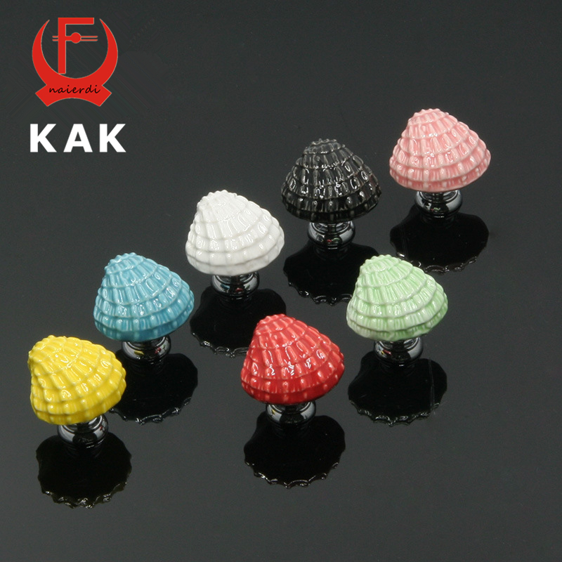 KAK 10PCS Ceramic Ocean Shell Drawer Knobs Mediterranean style Cabinet Cupboard door handles Novelty Fashion Furniture Handles css clear crystal glass cabinet drawer door knobs handles 30mm