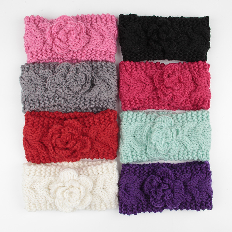 8 unids/lote Niñas punto de algodón diadema para GIRS ganchillo flor ...