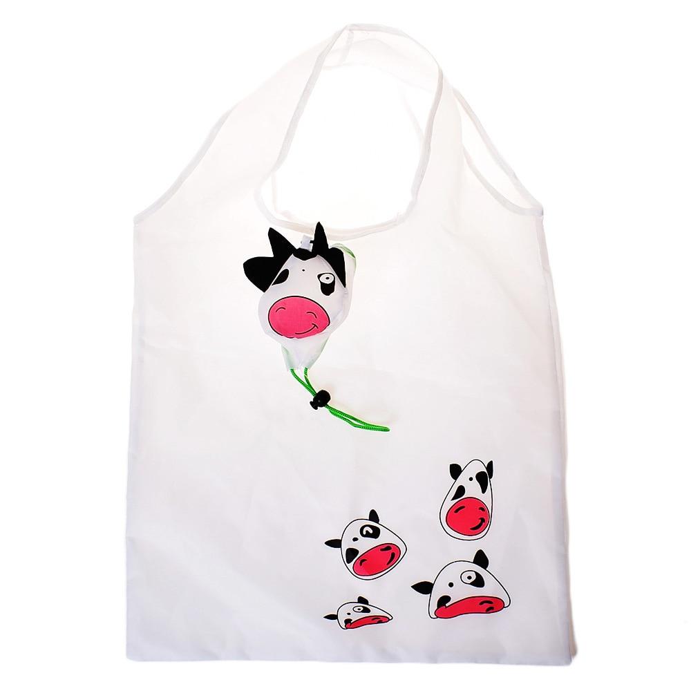 White cow Waterproof Folding Shopping Bag Eco Foldable Reusable Handbag 1 pc