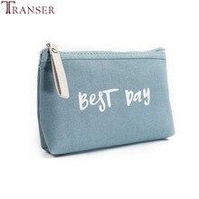 Transer mode effen kleur vrouwen letters cosmetische canvasr tas rits portemonnee portemonnee kaarthouders handtas A17