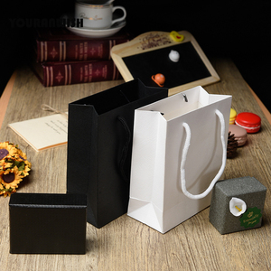 Image 3 - 20 יח\חבילה לבן שחור באיכות גבוהה פשוט נייר שקית מתנת נייר סוכריות קופסא עם ידית חתונת מסיבת יום הולדת מתנה חבילה ב