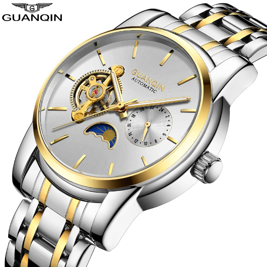 GUANQIN Luxury Watch Men Moon Phase Waterproof Luminous Watch Automatic Stainless Steel Tourbillon Mechanical Wristwatches Gifts tevise men watch black stainless steel automatic mechanical men s watch luminous waterproof watch rotate dial mens wristwatches