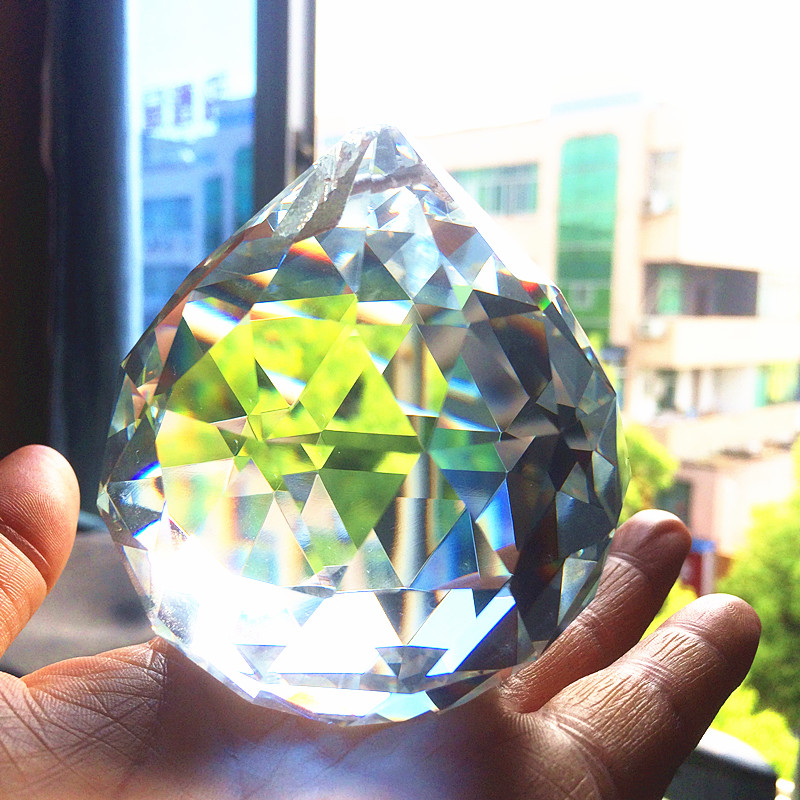 Free Shipping Good Quality Guaranteed K9 Clear Crystal Faceted Chandelier Ball 70mm Fengshui Crystal ball Christmas Suncatcher