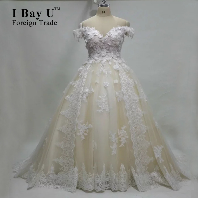 100% Real Photo Off White Blush Wedding Dress 2017 Elegant Tulle ...