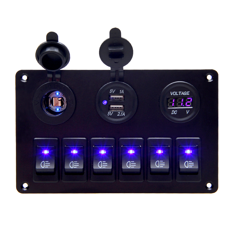 USB Charging 12V 24V 6 Gang Rocker Switch Panel Waterproof Circuit Breaker Blue LED Car Marine Boat Ship Truck Control Switch