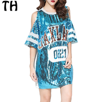 2018 Fashion Letter Sequined T Shirt Women Tops Off the Shoulder Summer Casual Tshirt #161307