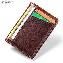 Brand Design Men Leather Wallet Luxury Credit Card Holder Small Driver License Document Purse Male Bag