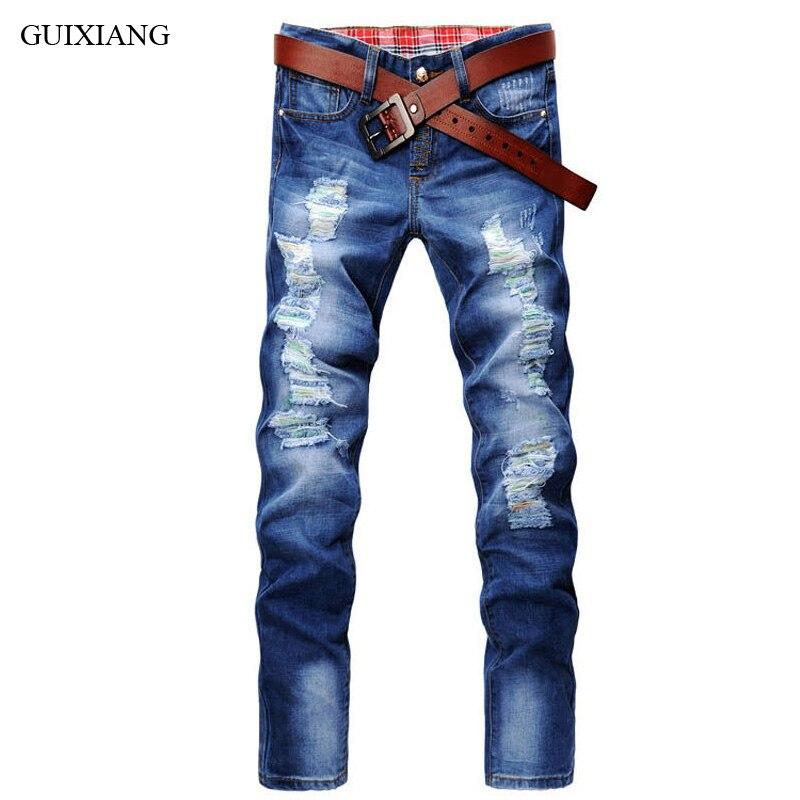 Гуйсян Для мужчин для отдыха Длинные джинсы Модная Повседневная однотонная отверстие молнии Брюки Для мужчин Тонкий прямые джинсы Штаны Ра... ...