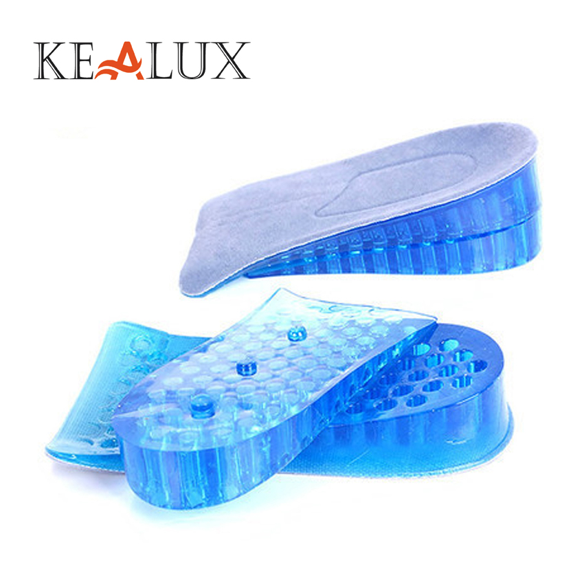 KEALUX Unisex Silicone Height Increasing Insoles 4CM Solid Hard-Wearing Men Insoles Adjustable Shoe Inserts Shock-Absorbant
