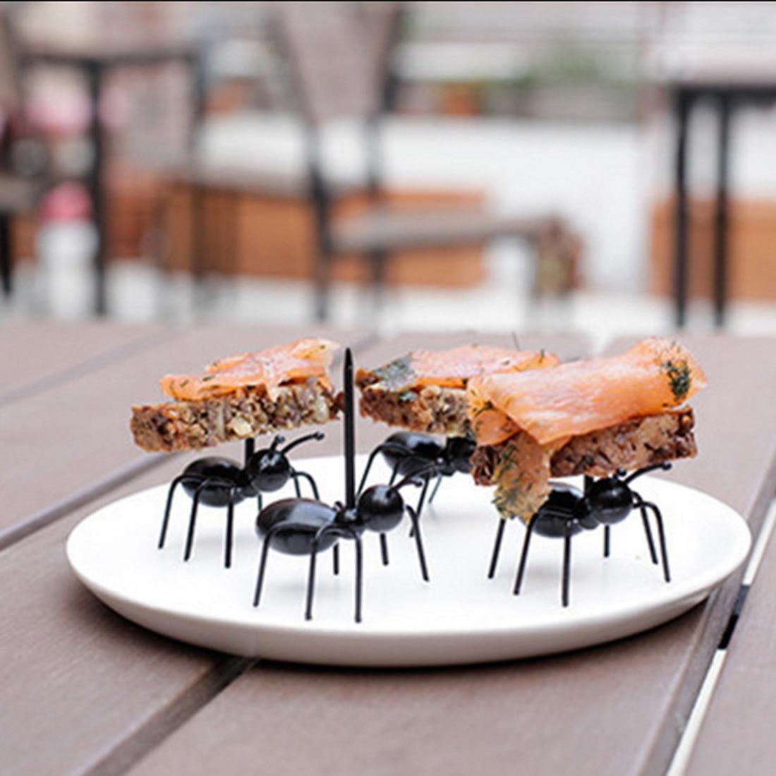 12PCs/ Set Cute Mini Ant Fruit Forks Plastic Snack Cake Dessert Forks Talheres Fruit Pick Tableware Fork Ant toothpick
