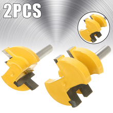 2pcs 2 Bit Tongue And Groove Woodworking Router Bit Milling Cutter 1/4