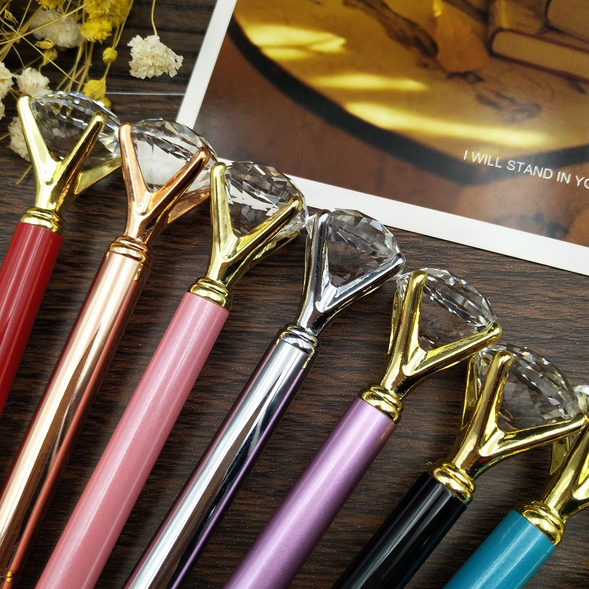 2019 Metal Box ball point pen carat diamond ring crystal feather for woman wedding Office school supplies gift roller ballpoint in Ballpoint Pens from Office School Supplies