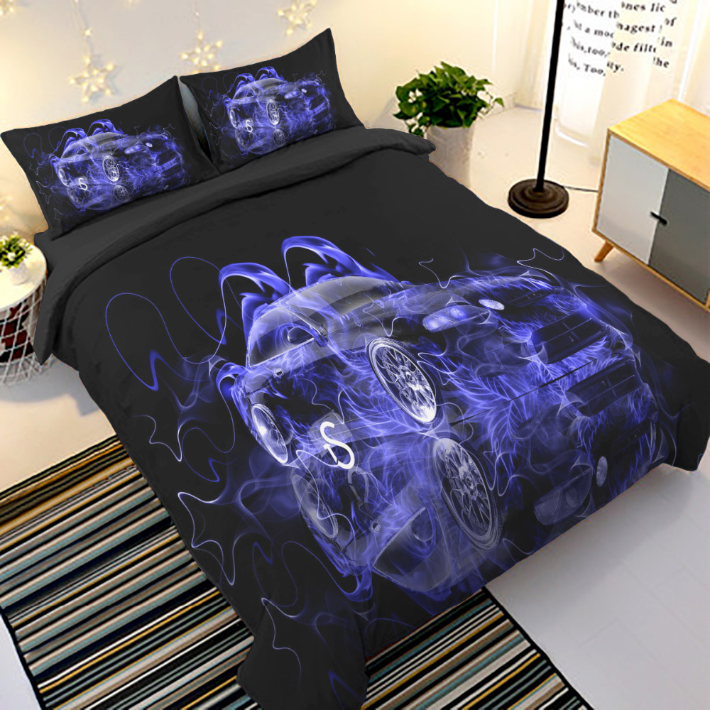 Blue Fire Car Bedding Set Cool Duvet Cover Quilt Cover With Pillow Cases US Twin Full Queen King Super King Bed Linen Set 3pcs