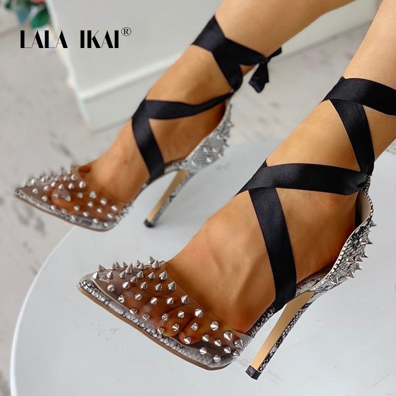 LALA IKAI Rhinestone Women Pumps Lace-Up Wedding Shoes Spring Summer High Heels Sexy Party Shoes Chaussures Femme XWC3941-4