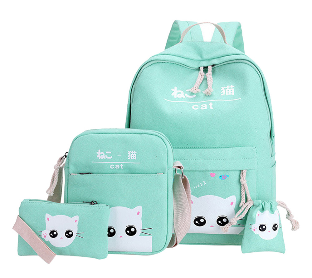 Cute Cat Printing Backpack School Bags For Teenagers Girls Backpacks Sholder School Bag 4pcs/Set Rucksack mochila infantil Рюкзак