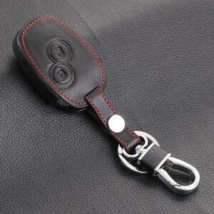 Image 3 - Czarna skórzana okładka dla nissana Almera Renault Clio Dacia Logan Megane Espace Kangoo Duster Twingo 2BTN obudowa kluczyka do samochodu z pilotem