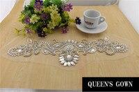2014 Nieuwe 30D Designer applique geborduurde crafting laatste steentjes jurk hot fix bead rhinestone patch voor trouwjurk