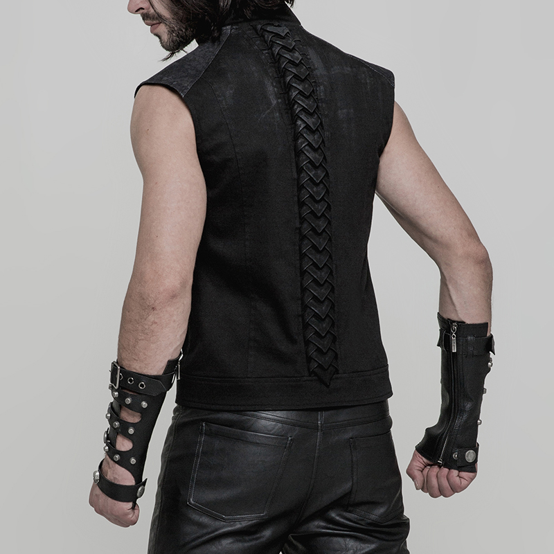 Punk Rave Mens Steampunk Fingerless Gloves Military Gothic Dieselpunk motocycle