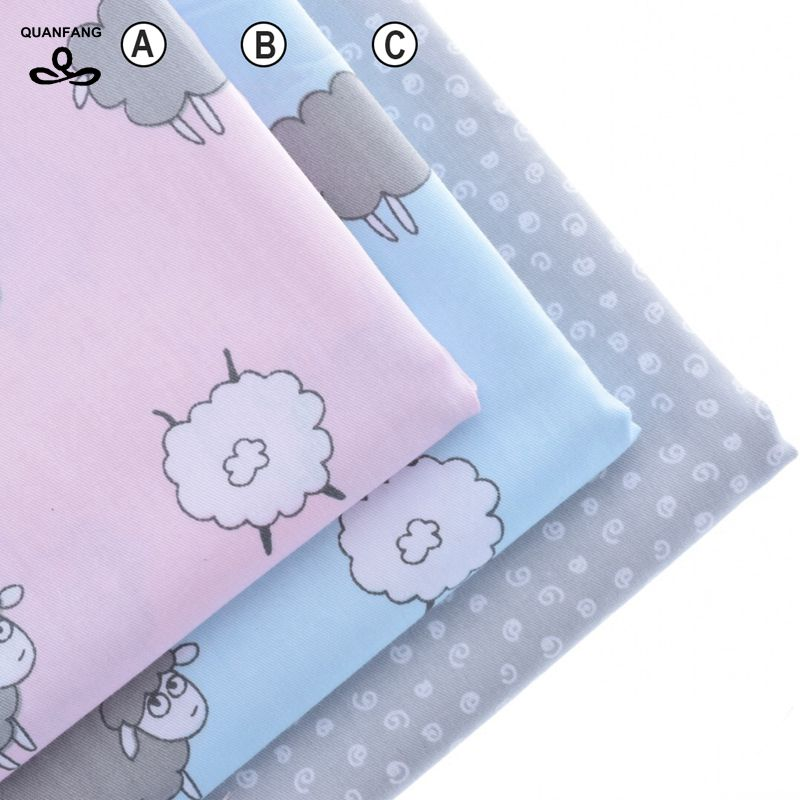 Bomull Tygtryckt Tyg Patchwork För Sömning Täckduk Scrapbooking Tissue Pattern Needlework Material Curtain Cloth Sheep Set