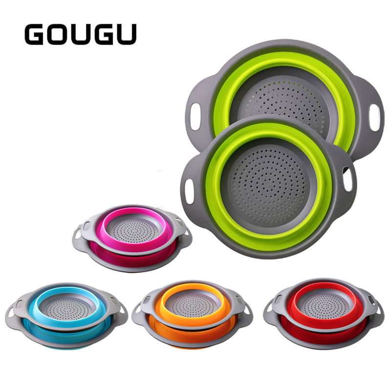 GOUGU Foldable Drain Colander Fruit Vegetable Washing
