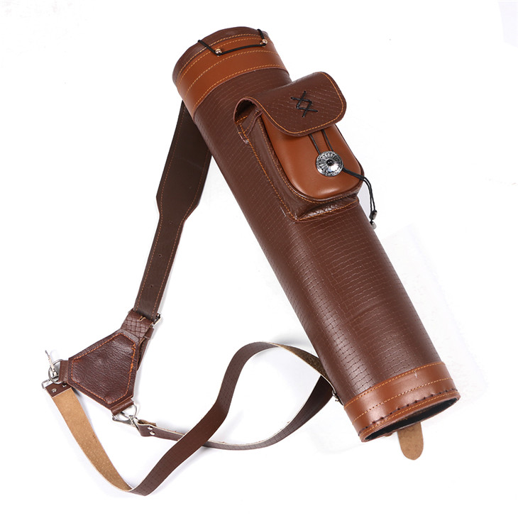 1pc Archery Arrow quiver real leather 20.5 inch hold 24pc arrows bag hunting horseback archery shooting