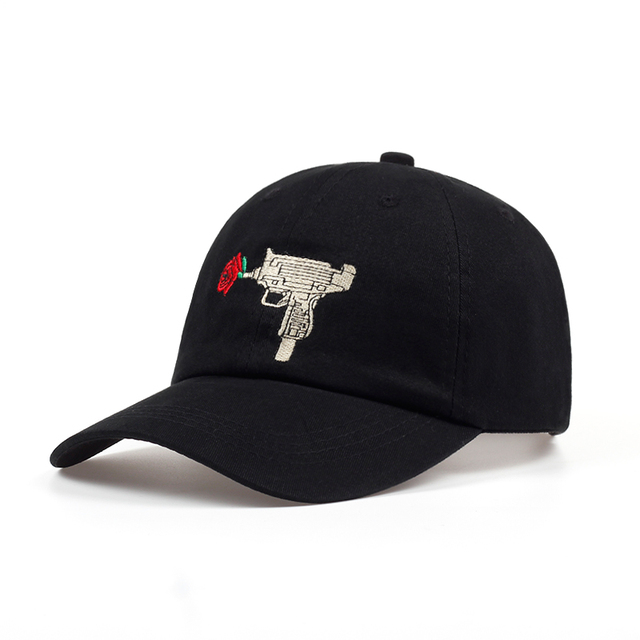 9e3aa4053f5 Hot Uzi Gun Rose Baseball Cap Ak47 Snapback US Fashion 2018 Casquette Dad  Hat Cotton Unisex