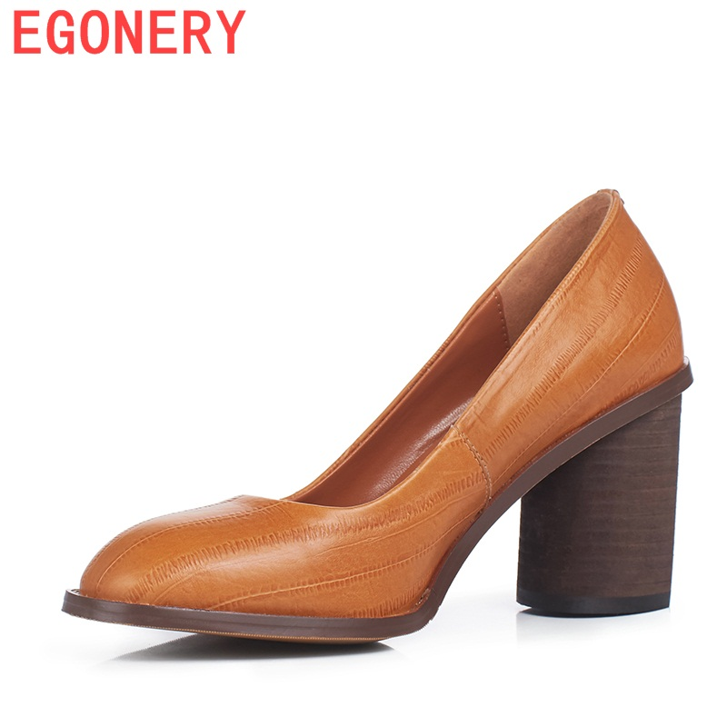 2017 autumn leather pumps woman high heels round toe office ladies thick heel black brown plus size good quality shoes women comfy women pointed toe square high heels office shoes woman flock ladies pumps plus size 34 40 black grey high quality
